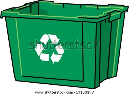 vector green recycling compost bin - stock vector