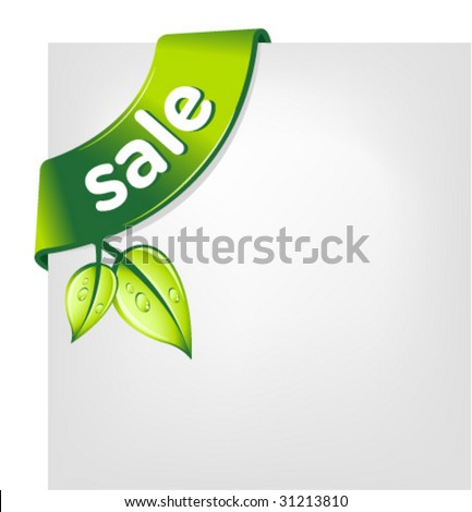 vector green SALE ribbon - stock vector