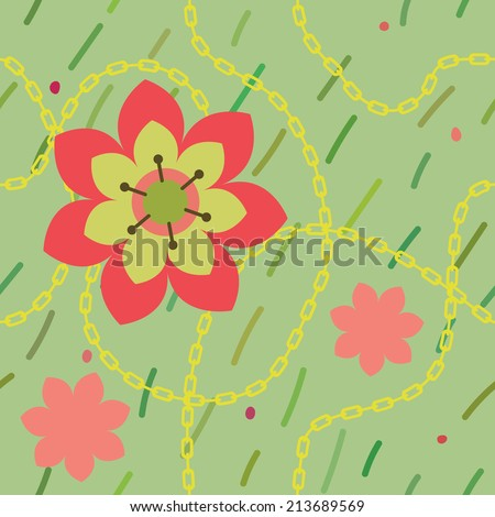 vector green seamless pattern with flowers and chain - stock vector