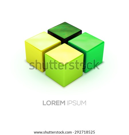 Vector green shadows boxes logo. Built in proper perspective cubes set.