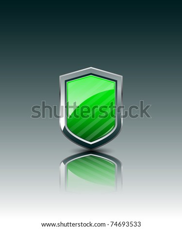 Vector Green shield - stock vector