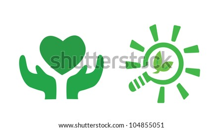Vector - Green signs.Concept:Take care the earth. - stock vector