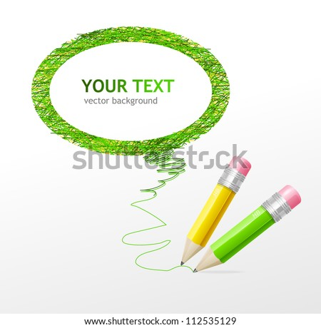 Vector green speech bubble pencils - stock vector