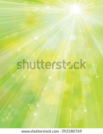 Vector green, spring  background with rays, stars and lights. - stock vector