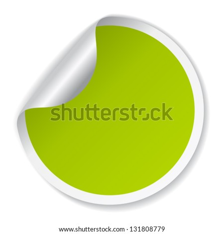 Vector green sticker - stock vector