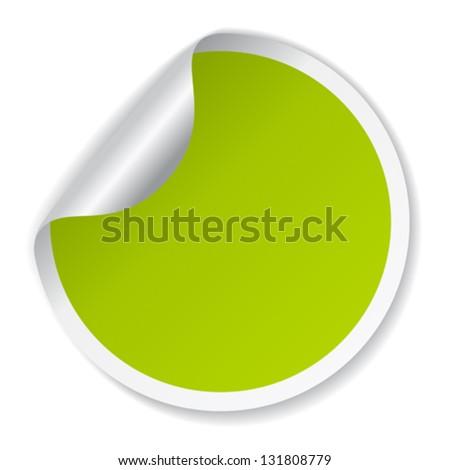 Vector green sticker - stock vector
