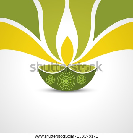 vector green style happy diwali design - stock vector
