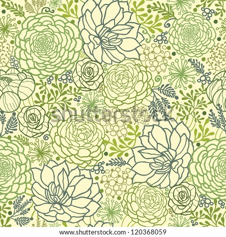 Vector Green Succulent Plants Seamless Pattern Background Texture With hand drawn doodle seaweed. - stock vector