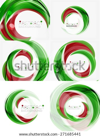 Vector green swirl line abstract background. Modern layout for your message, slogan or brand name - stock vector