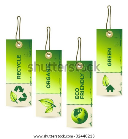 Vector GREEN Tag Labels [4] - stock vector
