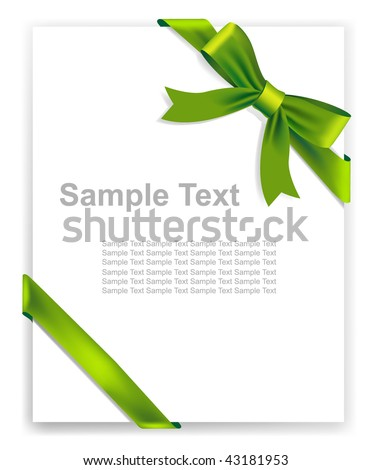 Vector green tape and bow, no size limit. proportion of A4 format vertical. - stock vector