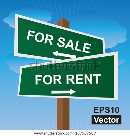 Vector : Green Two Way Street or Road Sign Pointing to For Sale and For Rent in Blue Sky Background