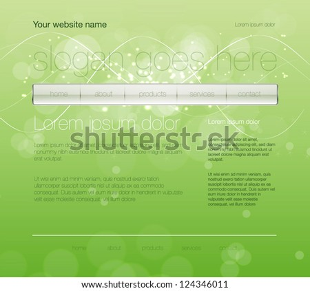 Vector green web site design template with glossy navigation bar and modern glowing background