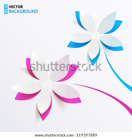 Vector greeting card background with derived paper flowers - stock vector