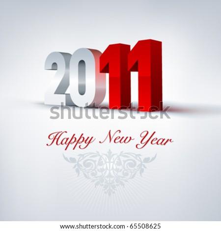 Vector greeting card 2011. Editable - stock vector
