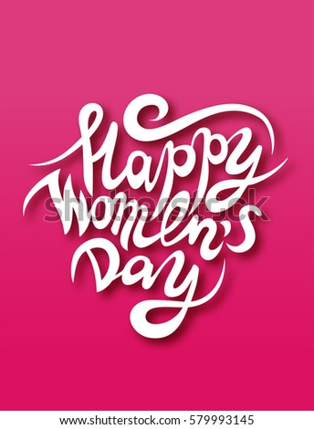 Vector greeting card 8 march happy women's day lettering with shadow on pink background
