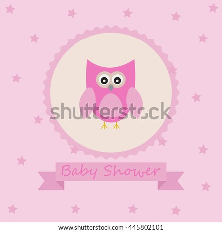 Vector greeting card on a festive child theme. Little girl bird baby shower.