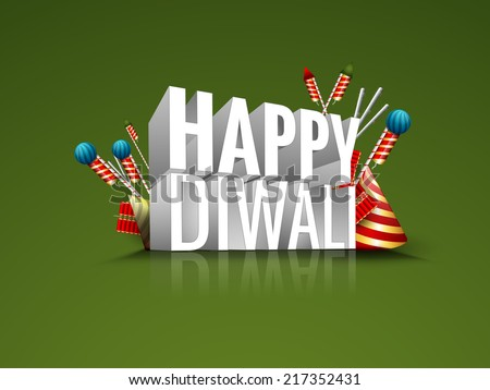 Vector greeting card or background, flyer,brochure, magazine cover for Diwali festival with crackers and 3d text can be used for print and publishing. - stock vector