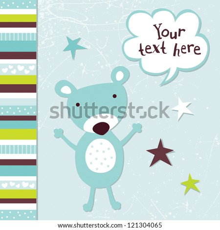 Vector greeting card template for a baby girl with cute teddy bear and speech bubble. Great for birthday, baby shower, Christening, baptism, Thank You, party invitations, social media, web banner - stock vector
