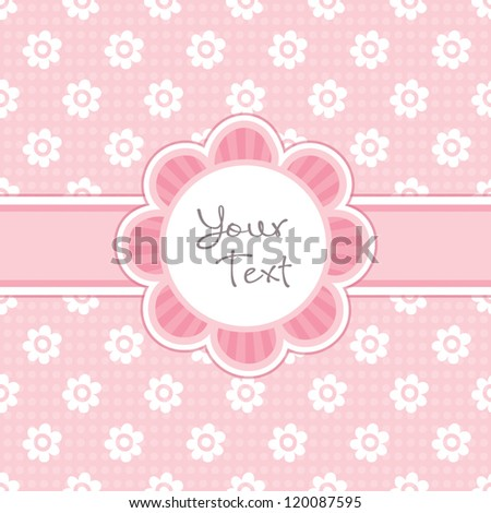 Vector Greeting Card Template Cute Daisy Stock Vector - Vintage girl birthday invitation