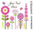 Vector greeting card template with retro style flowers in pink and green. Isolated on white, for Birthday, Mother's Day, Easter, Thank You, Sympathy, invitations, social media, web banner. - stock