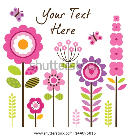Vector greeting card template with retro style flowers in pink and green. Isolated on white, for Birthday, Mother's Day, Easter, Thank You, Sympathy, invitations, social media, web banner. - stock vector