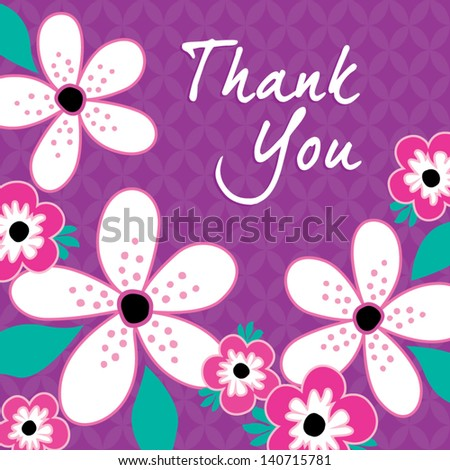 Vector Greeting Card template with vintage pink and white flowers on purple background. Good for Birthday, Thank You, Bridal Shower, Wedding. See my folio for JPEG version and for other colors. - stock vector