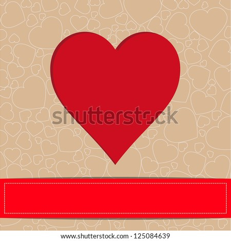 Vector greeting card Valentin`s Day.