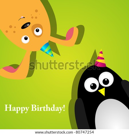 Vector greeting card with a penguin and dog
