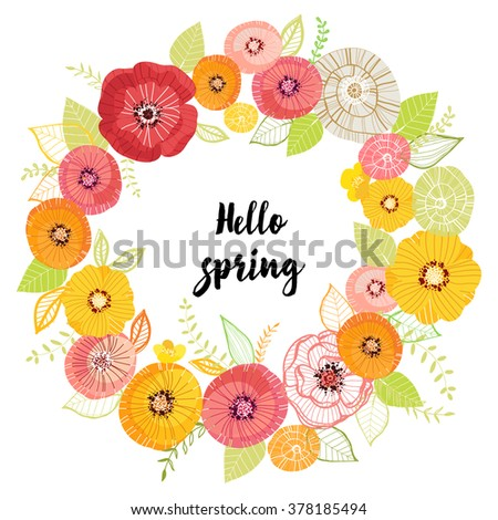 Vector Greeting Card With Flowers. Hello Spring