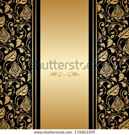 Vector greeting card with gold floral ornament. - stock vector