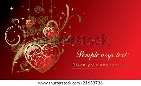 Vector greeting card with hearts - stock vector