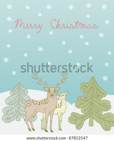 vector greeting card with pair of deers