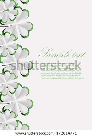 vector  greeting card with  paper clover, dedicated to Saint Patrick's Day  - stock vector
