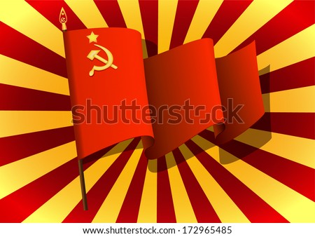 vector greeting card with USSR flag, related to Victory Day or 23 February  - stock vector