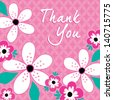 Vector greeting card with vintage pink and white flowers on pink background. Good for Birthday, Thank You, Baby Girl, Mother's Day, Easter, Wedding, social media, web banner.  - stock vector