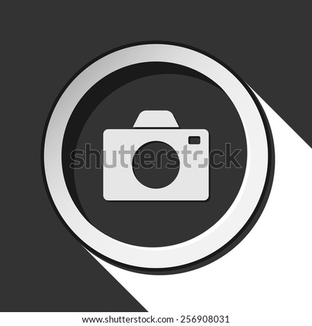 vector grey button with camera and stylized shadow - stock vector