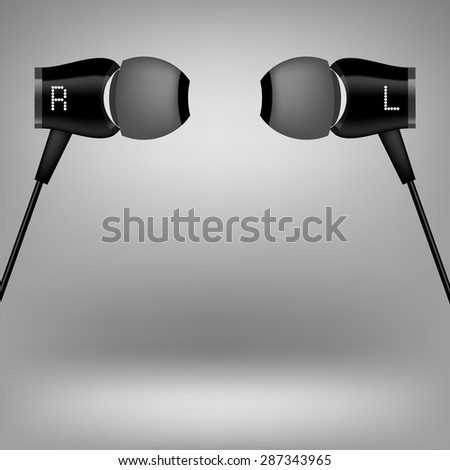 Vector Grey Earphones. Modern Headphones Icon Isolated on Grey Background.