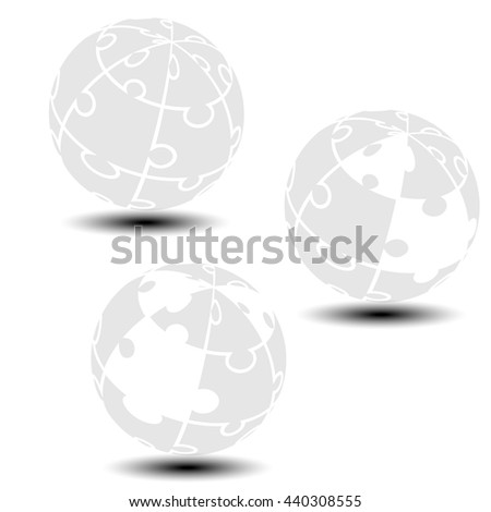Vector grey globe symbol created from puzzle.  Monochrome simple silhouettes. Symbol alliance of people in the world. - stock vector