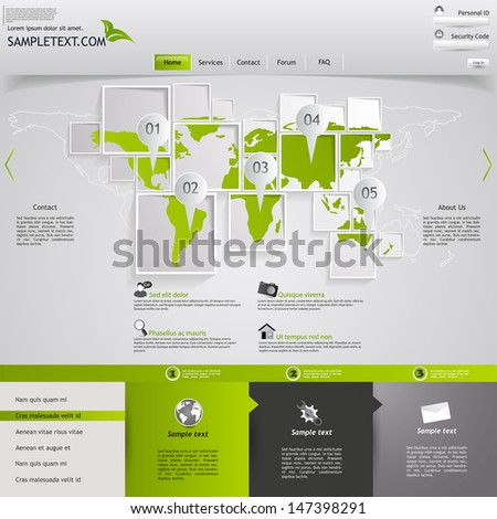 Vector Grey-green website, with earth map