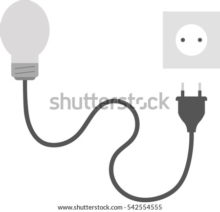 abstract background wire plug socket concept stock vector vector grey light bulb wire electrical plug and outlet