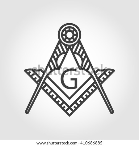 Vector grey masonic freemasonry emblem icon on grey background. Masonic square compass God symbol. Trendy alchemy element. Religion philosophy, spirituality, occultism, chemistry, science, magic - stock vector