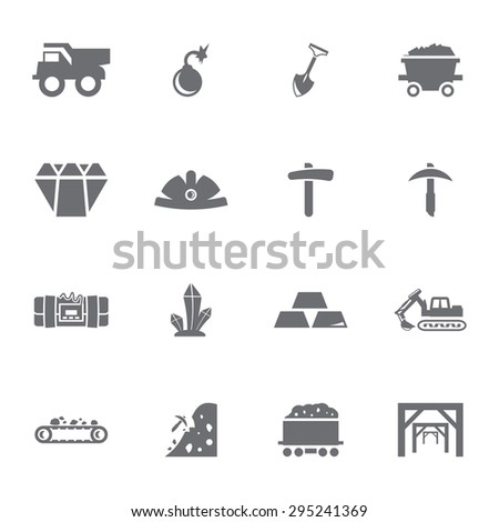 Vector grey mining icon set on white background