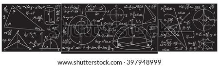 Vector grey school classroom chalkboard with handwritten with chalk formulas, equations, figures - stock vector