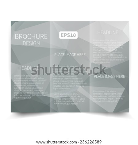 Vector grey tri-fold brochure design template with abstract geometric background. Tri-Fold Mock up & back Brochure Design with triangles. Vector design illustration EPS10 - stock vector