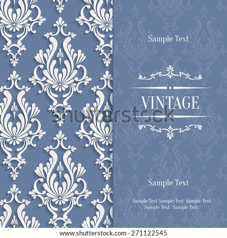 Vector Grey Vintage Background with 3d Floral Damask Pattern Template for Wedding or Invitation Card - stock vector
