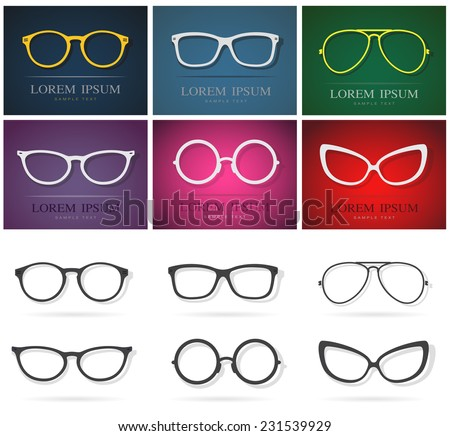 Vector group of an glasses design. Fashion eyewear - stock vector