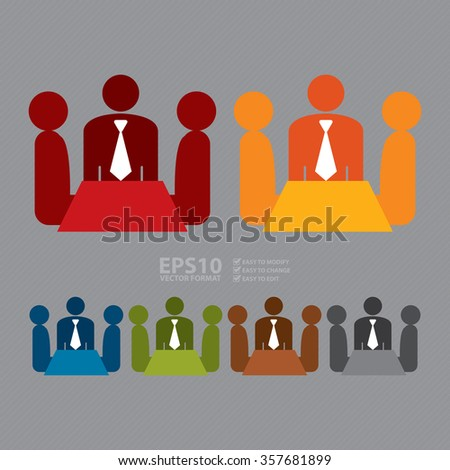 Vector : Group of Businessman Meeting, Discussion Flat Icon, Sign - stock vector