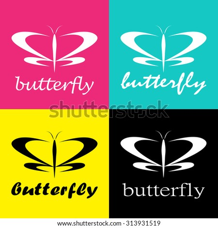Vector group of butterfly colored cmyk print - stock vector