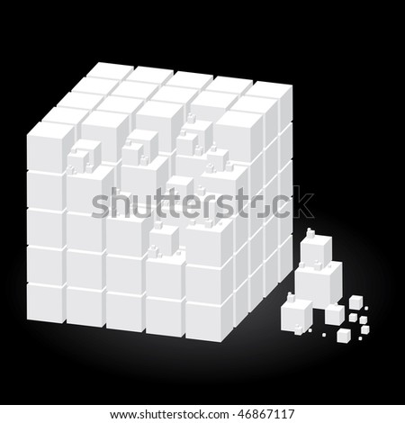 Vector group of cubes of white color on black background - stock vector